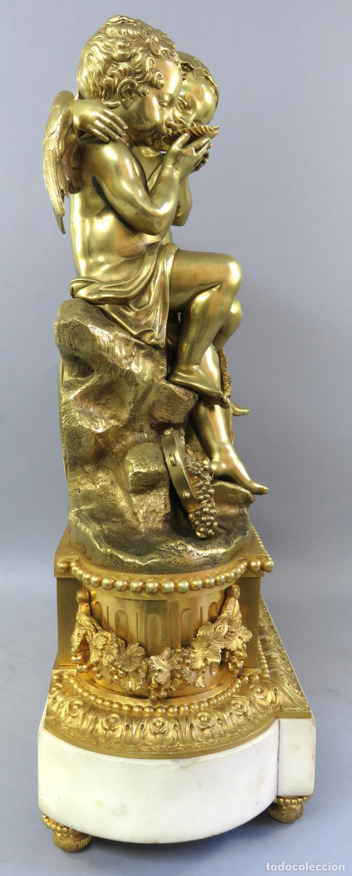 Relojes de carga manual: Reloj de sobremesa Napoleón III de cupidos en bronce dorado París porcelana Francia siglo XIX - Foto 14 - 218098693