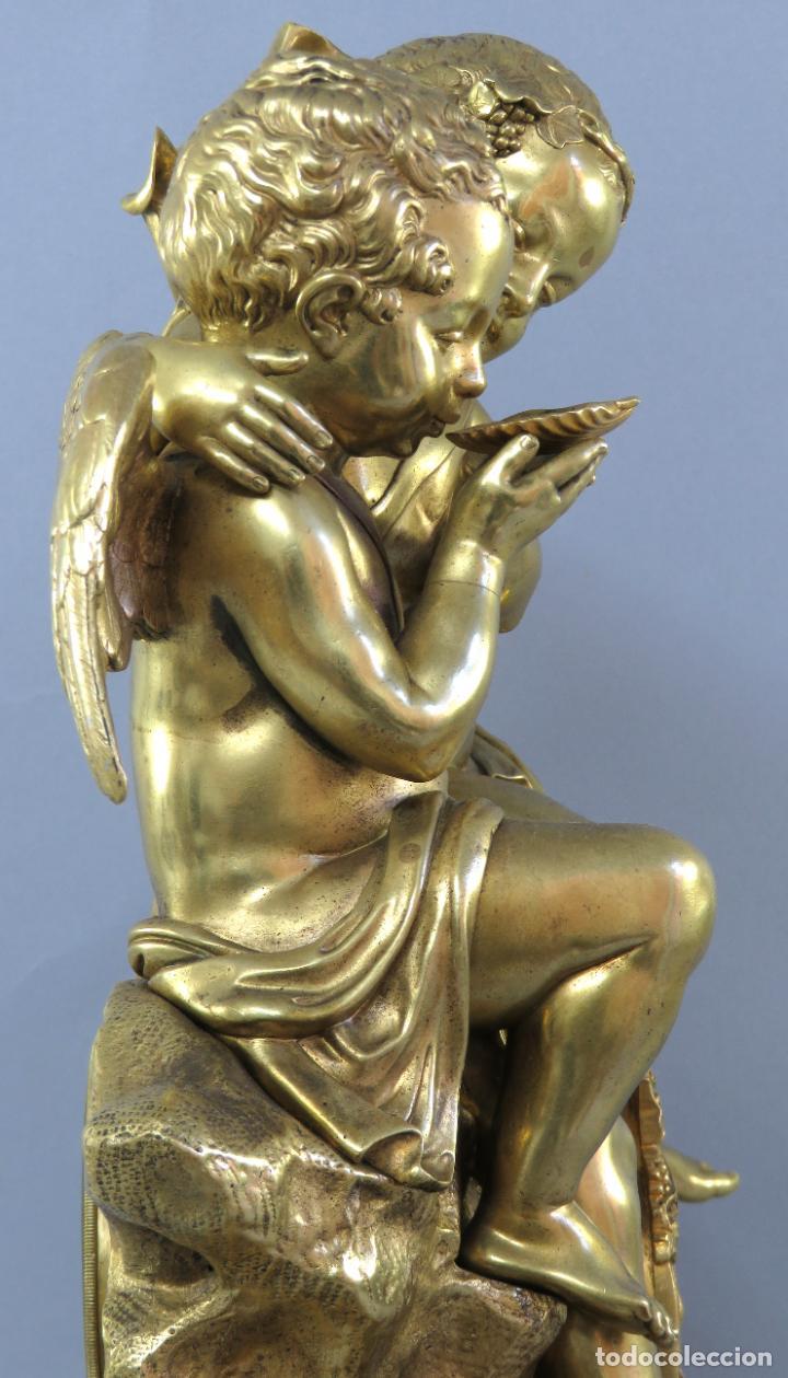 Relojes de carga manual: Reloj de sobremesa Napoleón III de cupidos en bronce dorado París porcelana Francia siglo XIX - Foto 15 - 218098693