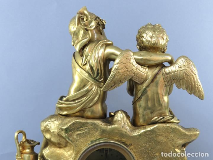 Relojes de carga manual: Reloj de sobremesa Napoleón III de cupidos en bronce dorado París porcelana Francia siglo XIX - Foto 18 - 218098693