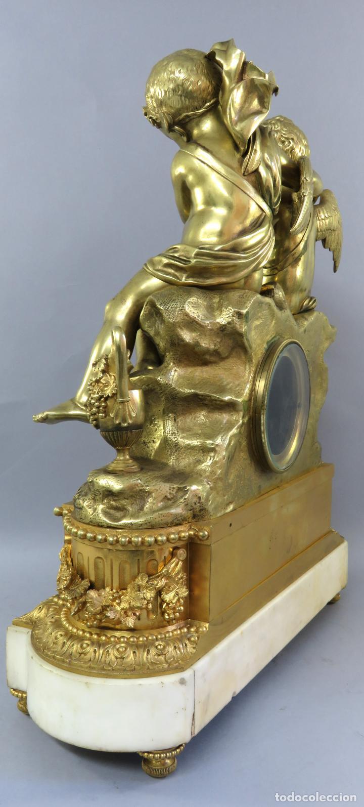 Relojes de carga manual: Reloj de sobremesa Napoleón III de cupidos en bronce dorado París porcelana Francia siglo XIX - Foto 22 - 218098693
