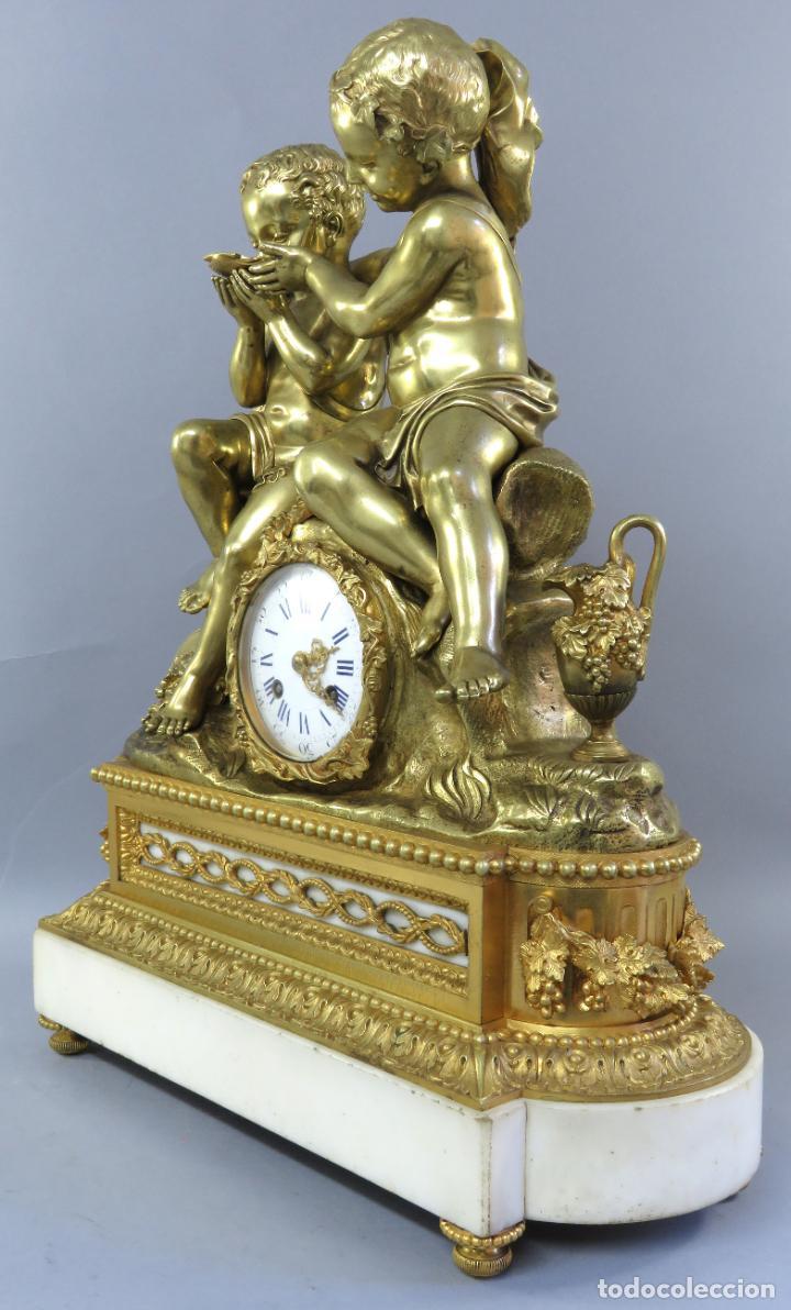Relojes de carga manual: Reloj de sobremesa Napoleón III de cupidos en bronce dorado París porcelana Francia siglo XIX - Foto 26 - 218098693