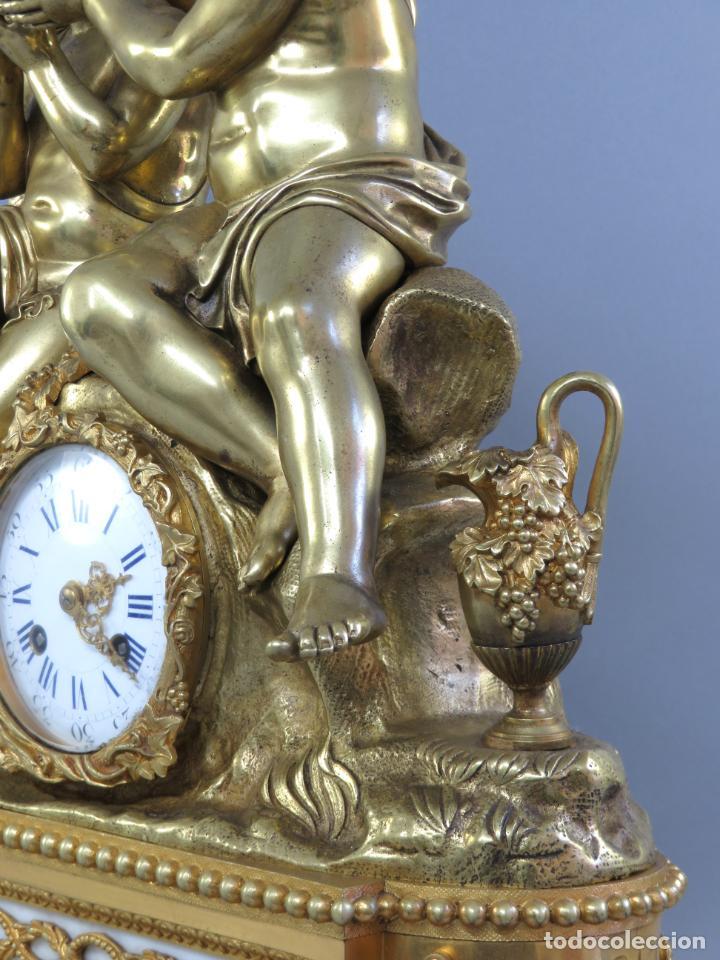 Relojes de carga manual: Reloj de sobremesa Napoleón III de cupidos en bronce dorado París porcelana Francia siglo XIX - Foto 28 - 218098693
