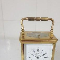 Relojes de carga manual: RELOJ DE CARRUAJE ANTIGUO CON SONERIA AL PASO HORAS Y MEDIAS Y DESPERTADOR CASI A ESTRENAR FUNCIONA. Lote 218640931