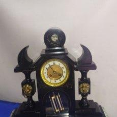 Relojes de carga manual: IMPRESIONANTE RELOJ PRESIDENCIAL PENDULO DE MERCURIO MÁRMOL NEGRO SIGLO XIX. Lote 218643968