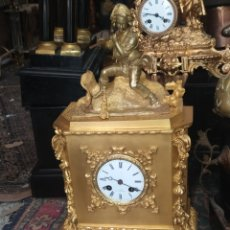 Relojes de carga manual: ESPECTACULAR RELOJ ÉPOCA PRIMER IMPERIO BRONCE AL MERCURIO ORO FINO ORMOLU. Lote 218644425