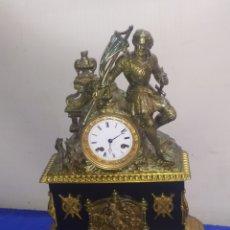 Relojes de carga manual: RELOJ FRANCÉS PRIMER IMPERIO BRONCE AL MERCURIO Y MÁRMOL NEGRO. Lote 218644575