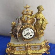 Relojes de carga manual: ANTIGUO RELOJ FRANCÉS CALAMINA BAÑADA EN BRONCE AL MERCURIO ORO FINO SIGLOXIX. Lote 218645078