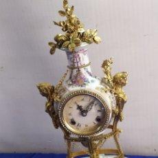 Relojes de carga manual: ANTIGUO RELOJ PORCELANA Y BRONCE AL MERCURIO. Lote 218646098