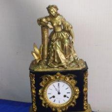 Relojes de carga manual: RELOJ ANTIGUO ÉPOCA PRIMER IMPERIO BRONCE AL MERCURIO Y MARMOL NEGRO C1820. Lote 218646172