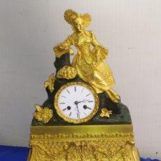 Relojes de carga manual: ANTIGUO RELOJ FRANCÉS PRIMER IMPERIO BRONCE AL MERCURIO ORO FINO ORMOLU SUSPENSIÓN DE HILO. Lote 218646216