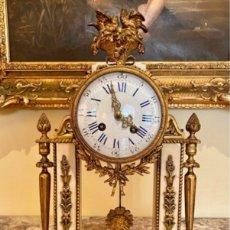 Relojes de carga manual: IMPRESIONANTE RELOJ FRANCÉS PÓRTICO ÉPOCA RESTAURACIÓN BRONCE Y MÁRMOL. Lote 218798251