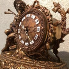 Relojes de carga manual: ESTUPENDO RELOJ DE SOBREMESA CON BASE DE MARMOL FUNCIONA. Lote 219468283