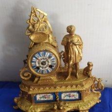 Relojes de carga manual: ANTIGUO RELOJ FRANCÉS PORCELANA Y CALAMINA SIGLOXIX. Lote 220953897