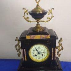 Relojes de carga manual: GRAN RELOJ FRANCÉS MÁRMOL NEGRO SIGLO XIX. Lote 221408686