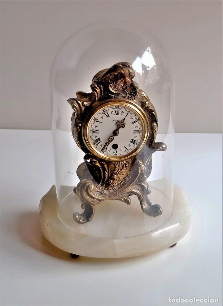 Relojes de carga manual: RELOJ BRONCE MECANICO 21.CM ALTO CUPULA METACRILATO 11.CM DIAMTRO Y BASE DE MARMOL - SIN LLAVE - Foto 5 - 221509568