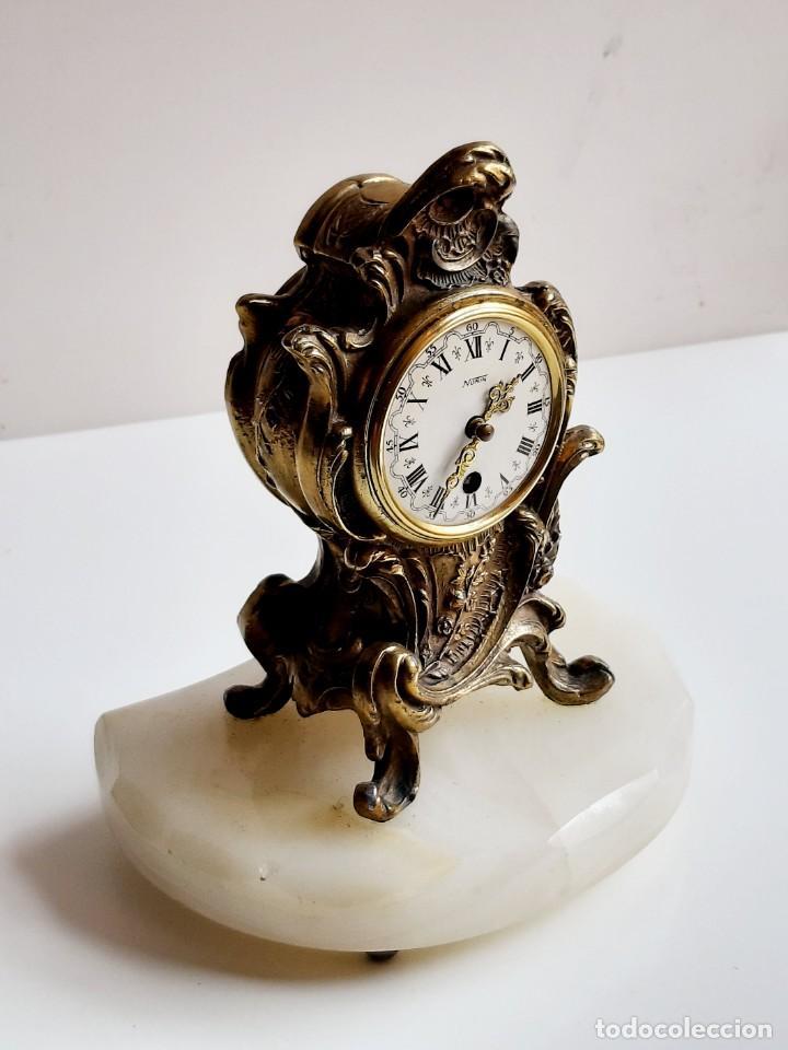 Relojes de carga manual: RELOJ BRONCE MECANICO 21.CM ALTO CUPULA METACRILATO 11.CM DIAMTRO Y BASE DE MARMOL - SIN LLAVE - Foto 11 - 221509568