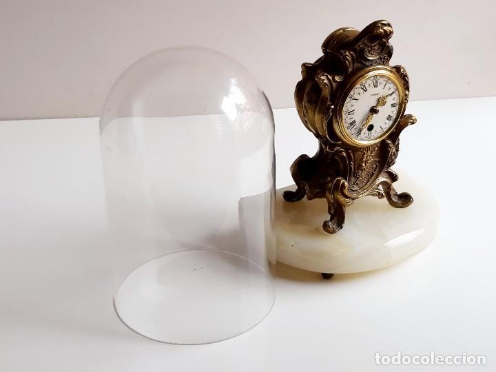Relojes de carga manual: RELOJ BRONCE MECANICO 21.CM ALTO CUPULA METACRILATO 11.CM DIAMTRO Y BASE DE MARMOL - SIN LLAVE - Foto 12 - 221509568