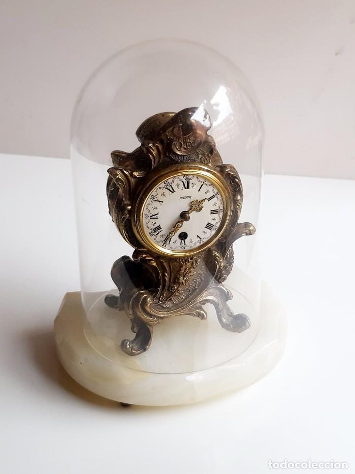 Relojes de carga manual: RELOJ BRONCE MECANICO 21.CM ALTO CUPULA METACRILATO 11.CM DIAMTRO Y BASE DE MARMOL - SIN LLAVE - Foto 13 - 221509568