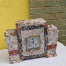 Relojes de carga manual: ANTIGUO RELOJ FRANCÉS MÁRMOL MULTICOLOR IMPECABLE. Lote 222173505