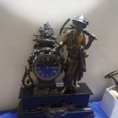 Relógios de carga manual: ANTIGUO RELOJ FRANCÉS MÁRMOL Y CALAMINA SIGLOXIX. Lote 222176662