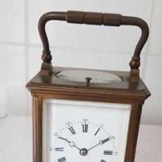 Relojes de carga manual: RELOJ DE CARRUAJE SIGLO XIX MARCA BREGUET SONERIA HORAS MEDIAS AL PASO Y DESPERTADOR FUNCIONA UNICO. Lote 222434050