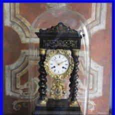 Relojes de carga manual: PRECIOSO RELOJ PORTICO CON MARQUETERIA METALICA Y FANAL. Lote 222441478
