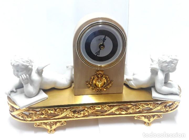Relojes de carga manual: BELLO RELOJ DE SOBREMESA EN BRONCE Y MÁRMOL CON ANGELITOS MOVIMIENTO DE CUARZO Y NUEVO A ESTRENAR - Foto 3 - 222639056