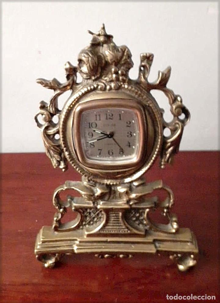 RELOJ DE SOBREMESA ANTIGUO DE BRONCE (Relojes - Sobremesa Carga Manual)