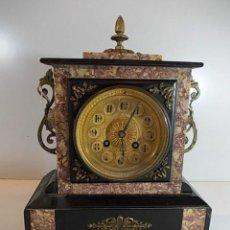 Relojes de carga manual: ANTIGUO Y ESPECTACULAR RELOJ III IMPERIO EN MARMOLES DIFERENTES MAQUINARIA FRANCESA DECOR BRONCES. Lote 227616470