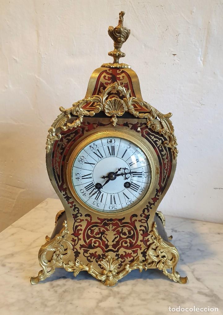 RELOJ LUIS XV MARQUETERIA BOULLE DE LATON Y CAREY (Relojes - Sobremesa Carga Manual)