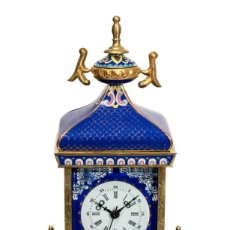 Relojes de carga manual: PRECIOS RELOJ , DE SOBREMESA , EN BRONCE ESMALTADO, Y CRISTAL BISELADO, FUNCIONANDO PERFECTAMENTE.. Lote 231590085