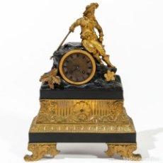 Relojes de carga manual: RELOJ DE SOBREMESA CARLOS X EN BRONCE DORADO Y BRONCE PAVONADO, S.XIX.. Lote 232388105