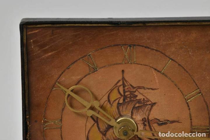 Relojes de carga manual: MAGNIFICO RARO RELOJ NAUTICO OBRA ARTE ART NOVEAU ESFERA CUERO GRABADO A MANOO - Foto 3 - 236059390