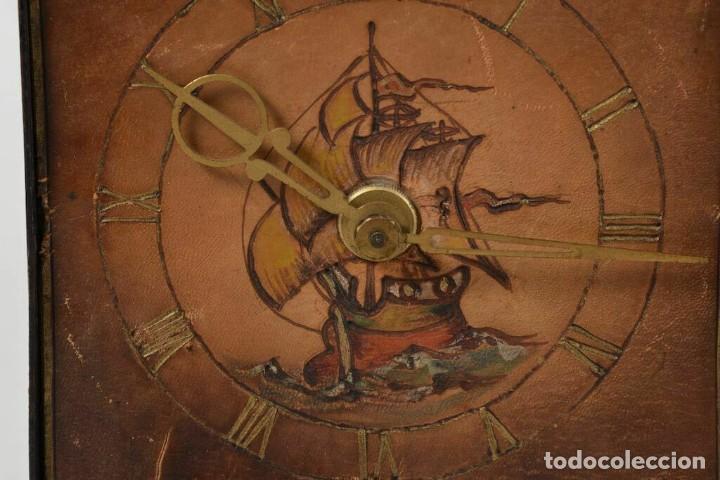 Relojes de carga manual: MAGNIFICO RARO RELOJ NAUTICO OBRA ARTE ART NOVEAU ESFERA CUERO GRABADO A MANOO - Foto 4 - 236059390