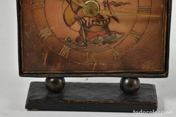 Relojes de carga manual: MAGNIFICO RARO RELOJ NAUTICO OBRA ARTE ART NOVEAU ESFERA CUERO GRABADO A MANOO - Foto 8 - 236059390