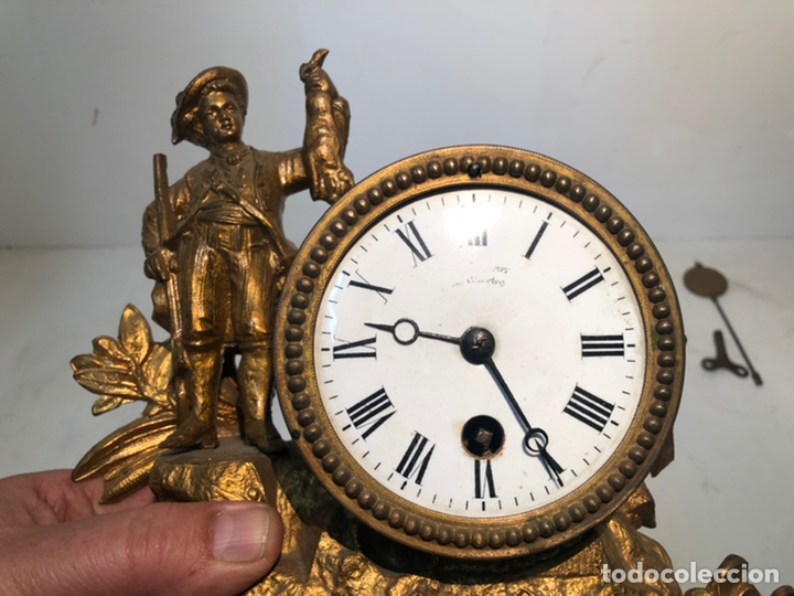 Relojes de carga manual: ANTIGUO RELOJ DE SOBREMESA, CAZADOR DE CALAMINA. - Foto 2 - 247991505