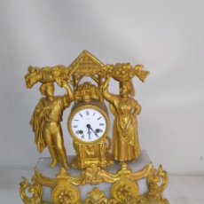 Relojes de carga manual: IMPRESIONANTE RELOJ FRANCÉS DE CALAMINA BAÑADA EN BRONCE AL MERCURIO ORO FINO SIGLO XIX. Lote 248742430