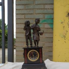 Relojes de carga manual: ANTIGUO RELOJ FRANCÉS MÁRMOL NEGRO Y ZAMAK SIGLO XIX. Lote 248992500
