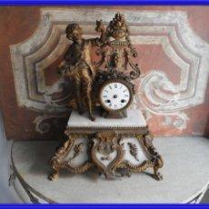 Relógios de carga manual: ANTIGUO RELOJ DE CALAMINA Y MARMOL S. XIX. Lote 251026155