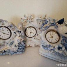 Relojes de carga manual: LOTE DE TRES RELOJES DE SOBREMESA A CUERDA DE CERAMICA. Lote 254873570