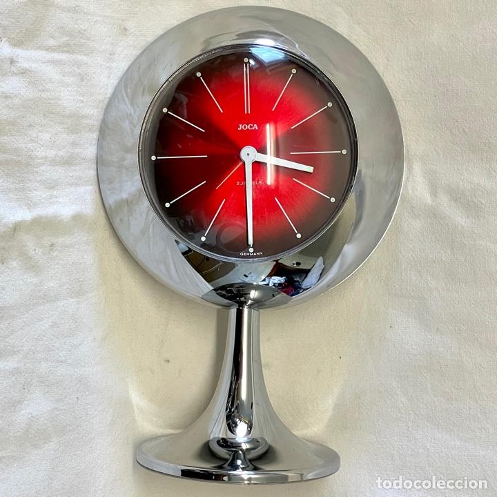 REJOJ DESPERTADOR SOBREMESA JOCA SPACE MECANICO CUERDA CROMADO FUNCIONA VINTAGE RETRO GERMANY (Relojes - Sobremesa Carga Manual)