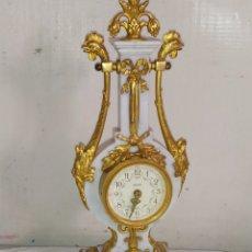 Relojes de carga manual: IMPRESIONANTE RELOJ DE LIRA JAEGER BRONCE AL MERCURIO Y MÁRMOL. Lote 276150783