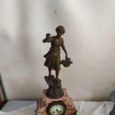 Relojes de carga manual: ANTIGUO RELOJ FRANCÉS MÁRMOL Y CALAMINA SIGLO XIX. Lote 276908858