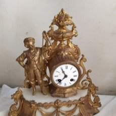 Relojes de carga manual: RELOJ ANTIGUO FRANCÉS CALAMINA DORADA AL MERCURIO Y MÁRMOL SIGLO XIX. Lote 276910143