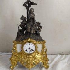 Relojes de carga manual: ESPECTACULAR RELOJ FRANCÉS BRONCE Y MÁRMOL SIGLO XIX. Lote 276910203