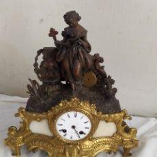 Relojes de carga manual: IMPORTANTE RELOJ FRANCÉS BRONCE Y MÁRMOL SIGLO XIX. Lote 276910223