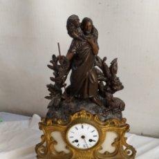 Relojes de carga manual: IMPORTANTE RELOJ FRANCÉS SIGLO XIX BRONCE CALAMINA Y MÁRMOL. Lote 276910273