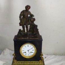Relojes de carga manual: IMPORTANTE RELOJ FRANCÉS ÉPOCA PRIMER IMPERIO BRONCE Y MÁRMOL NEGRO. Lote 276910528