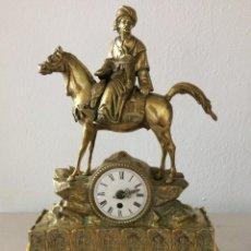 Relógios de carga manual: IMPRESIONANTE RELOJ DE SOBREMESA LATON Y MÁRMOL. Lote 284159673