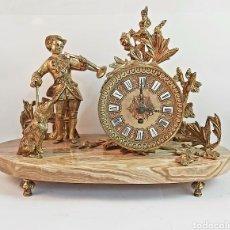 Relojes de carga manual: RELOJ DE SOBREMESA ROCALBA CHIRIVELLA (VALENCIA) DE BRONCE BAÑADO EN ORO Y BASE DE MÁRMOL. Lote 286740843